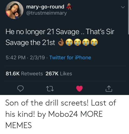 Dank, Iphone, and Memes: mary-go-round  @trustmeimmary  He no longer 21 Savage .. That's Sir  Savage the 21st  5:42 PM 2/3/19 Twitter for iPhone  81.6K Retweets 267K Likes Son of the drill screets! Last of his kind! by Mobo24 MORE MEMES