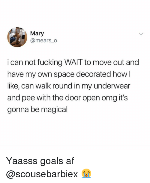 Af, Fucking, and Funny: Mary  @mears_o  i can not fucking WAIT to move out and  have my own space decorated how l  like, can walk round in my underwear  and pee with the door open omg it's  gonna be magical Yaasss goals af @scousebarbiex 😭