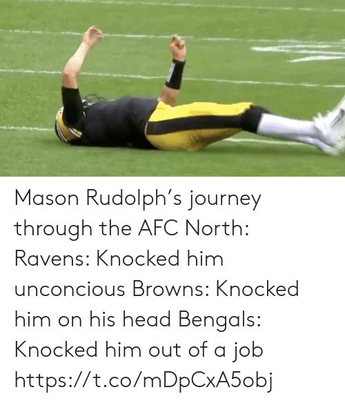 Knocked: Mason Rudolph's journey through the AFC North:  Ravens: Knocked him unconcious Browns: Knocked him on his head Bengals: Knocked him out of a job https://t.co/mDpCxA5obj