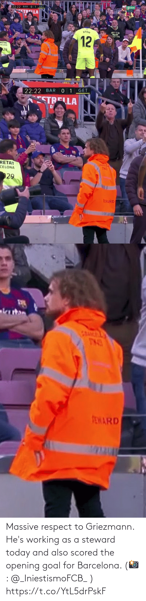 respect: Massive respect to Griezmann. He's working as a steward today and also scored the opening goal for Barcelona.   (📸: @_IniestismoFCB_ ) https://t.co/YtL5drPskF