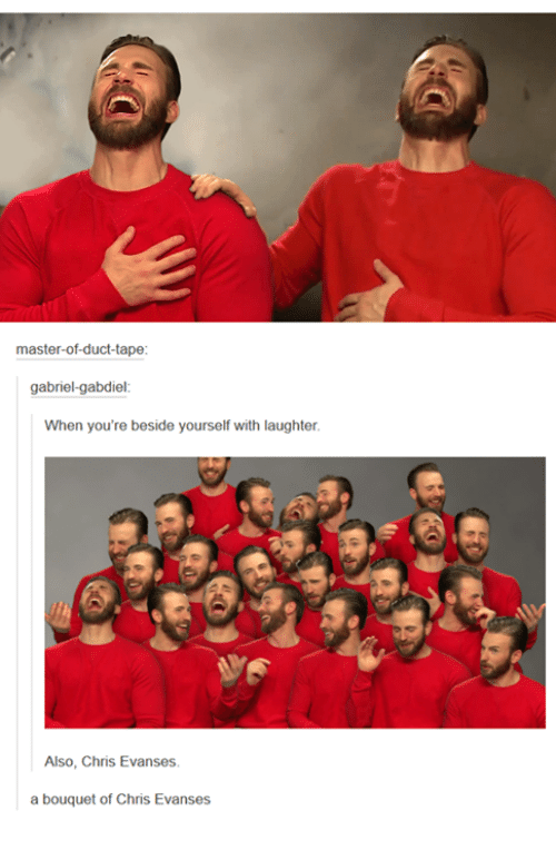 Masters, Humans of Tumblr, and Laughter: master-of-duct-tape  gabriel-gabdiel  When you're beside yourself with laughter.  Also, Chris Evanses.  a bouquet of Chris Evanses