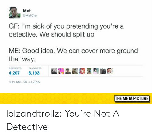 Im Sick: Mat  @MatCro  GF: I'm sick of you pretending you're a  detective. We should split up  ME: Good idea. We can cover more ground  that way  RETWEETS FAVORITES  4,207 6,193  6:11 AM-26 Jul 2015  THE META PICTURE lolzandtrollz:  You're Not A Detective