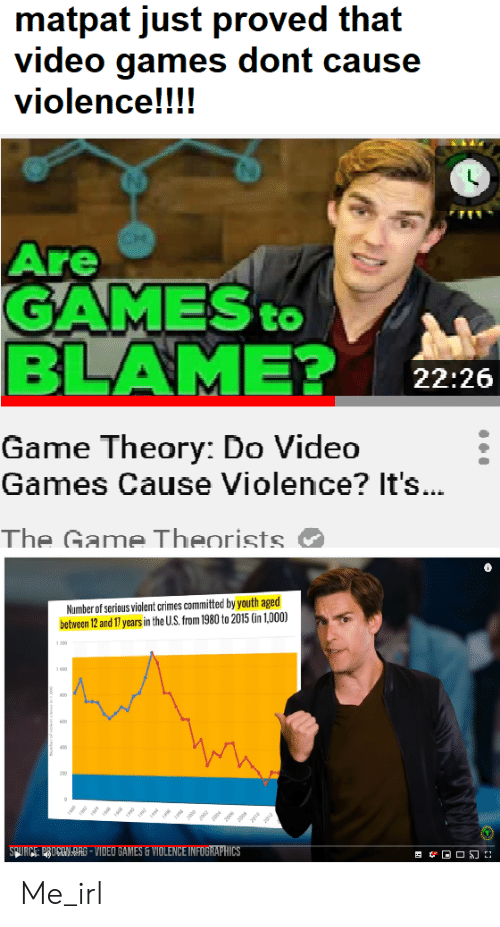 The Game, Video Games, and Game: matpat just proved that  video games dont cause  violence!!!!  Are  GAMES  BLAME?  to  22:26  Game Theory: Do Video  Games Cause Violence? It's...  The Game Theorists.  Number of serious violent crimes committed by youth aged  between 12 and 17 years in the U.S. from 1980 to 2015 (in 1,000)  200  1000  ann  SPURCE PROCONDRS-VIDEO GAMES&VIOLENCE INFOGRAPHICS Me_irl