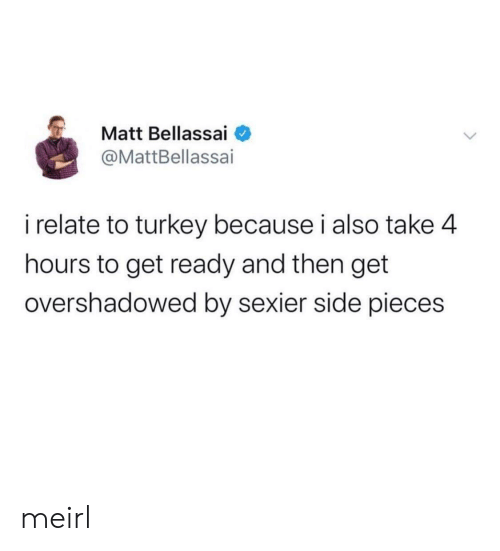 Turkey: Matt Bellassai  @MattBellassai  i relate to turkey because i also take 4  hours to get ready and then get  overshadowed by sexier side pieces meirl