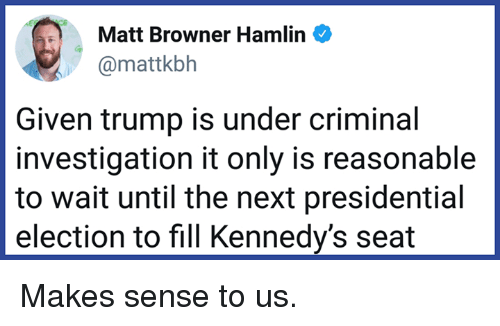 Memes, Presidential Election, and Trump: Matt Browner Hamlin  @mattkbh  Given trump is under criminal  investigation it only is reasonable  to wait until the next presidential  election to fill Kennedy's seat Makes sense to us.