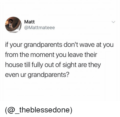 House, Dank Memes, and Out of Sight: Matt  @Mattmateee  if your grandparents don't wave at you  from the moment you leave their  house till fully out of sight are they  even ur grandparents? (@_theblessedone)