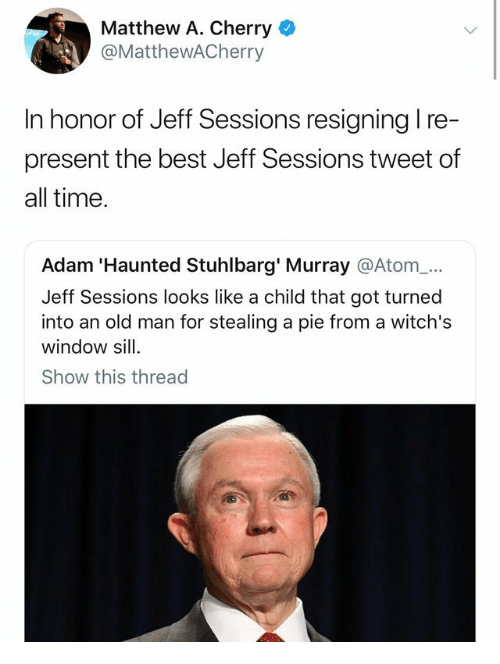 Matthew A: Matthew A. Cherry  @MatthewACherry  In honor of Jeff Sessions resigning l re-  present the best Jeff Sessions tweet of  all time  Adam 'Haunted Stuhlbarg' Murray @Atom_...  Jeff Sessions looks like a child that got turned  into an old man for stealing a pie from a witch's  window sill  Show this thread