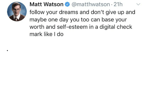 Follow Your: @matthwatson 21h  Matt Watson  follow your dreams and don't give up and  maybe one day you too can base your  worth and self-esteem in a digital check  mark like I do .