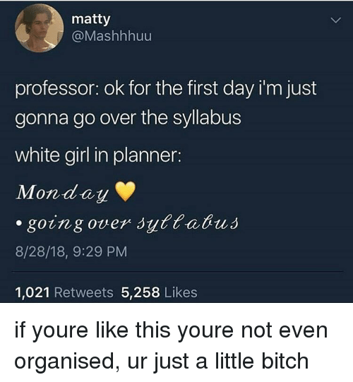 Bitch, Memes, and White Girl: matty  @Mashhhuu  professor: ok for the first day i'm just  gonna go over the syllabus  white girl in planner:  Monday  8/28/18, 9:29 PM  1,021 Retweets 5,258 Likes if youre like this youre not even organised, ur just a little bitch