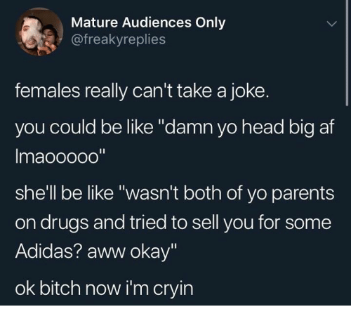 "Adidas, Af, and Aww: Mature Audiences Only  @freakyreplies  females really can't take a joke.  you could be like ""damn yo head big af  Imaooooo""  shell be like ""wasn't both of yo parents  on drugs and tried to sell you for some  Adidas? aww okay""  ok bitch now i'm cryin"