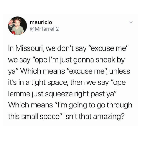 """Missouri, Space, and Amazing: mauricIO  @Mrfarrell2  In Missouri, we don't say """"excuse me""""  we say """"ope I'm just gonna sneak by  ya"""" Which means """"excuse me', unless  it's in a tight space, then we say """"ope  lemme just squeeze right past ya""""  Which means """"I'm going to go through  this small space"""" isn't that amazing?"""