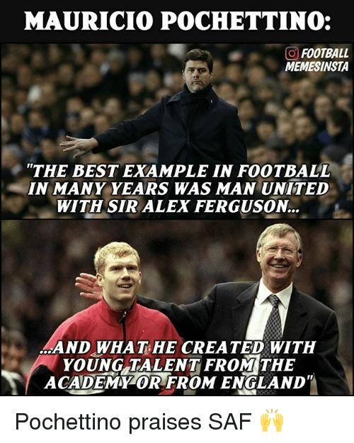 England, Football, and Memes: MAURICIO POCHETTINO:  GO FOOTBALL  MEMESINSTA  THE BEST EXAMPLE IN FOOTBALL  IN MANY YEARS WAS MAN UNITED  WITH SIR ALEX FERGUSON  AND WHAT HE CREATED WITH  YOUNG TALENT FROM THE  ACADEMMZOR FROM ENGLAND Pochettino praises SAF 🙌