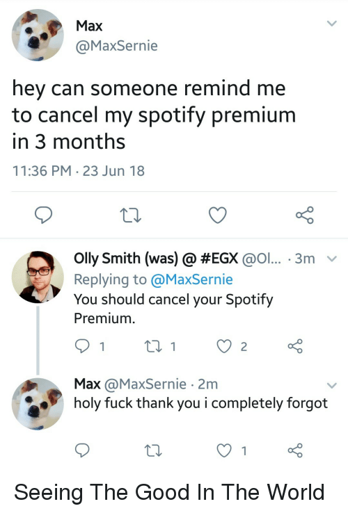 Spotify, Thank You, and Fuck: Max  axSernie  hey can someone remind me  to cancel my spotify premium  in 3 months  11:36 PM 23 Jun 18  olly Smith (was) @ #EGX @ol.. . 3m-  Replying to @MaxSernie  You should cancel your Spotify  Premium  Max @MaxSernie 2m  holy fuck thank you i completely forgot Seeing The Good In The World