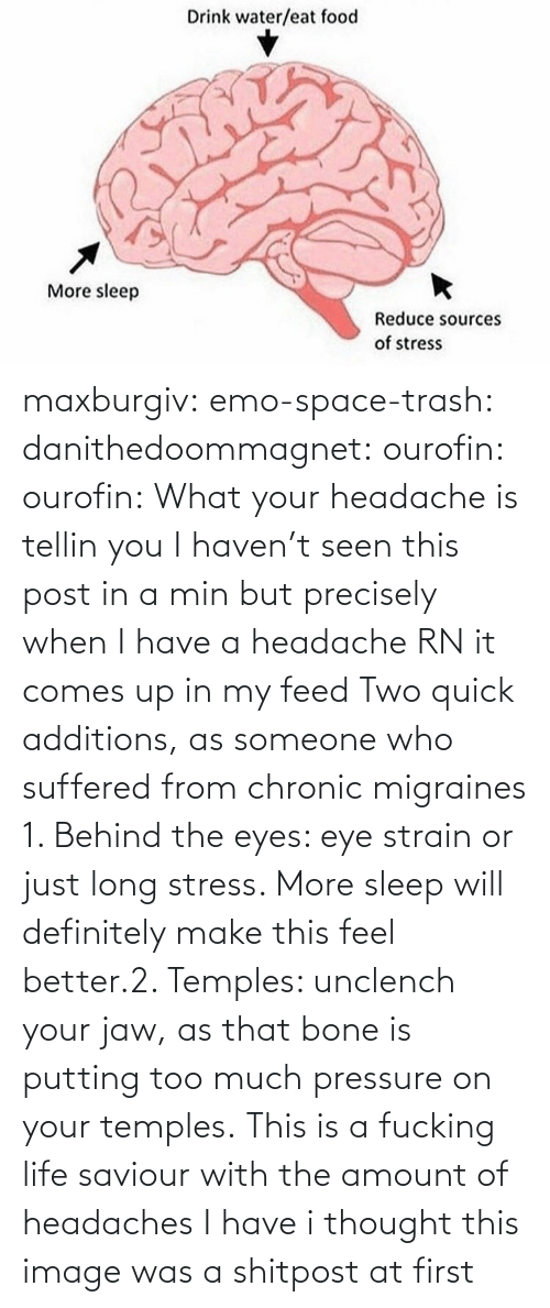 putting: maxburgiv:  emo-space-trash:  danithedoommagnet:  ourofin:  ourofin:  What your headache is tellin you  I haven't seen this post in a min but precisely when I have a headache RN it comes up in my feed   Two quick additions, as someone who suffered from chronic migraines 1. Behind the eyes: eye strain or just long stress. More sleep will definitely make this feel better.2. Temples: unclench your jaw, as that bone is putting too much pressure on your temples.   This is a fucking life saviour with the amount of headaches I have   i thought this image was a shitpost at first