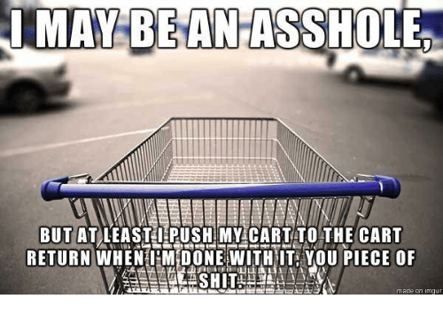 Memes, 🤖, and Push: MAY BE ANHASSHOLE  BUT AT LEASTI PUSH MY CART TO THE CART  RETURN WHEN M DONE WITH IT YOU PIECE OF  made on Ingu