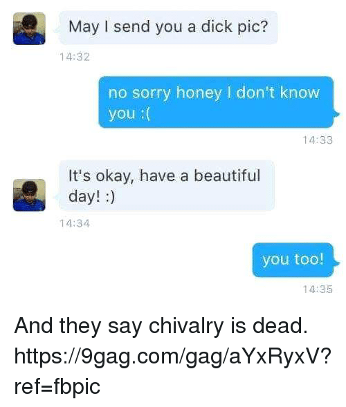 Dicks Pics: May I send you a dick pic?  14:32  no sorry honey l don't know  you  14:33  It's okay, have a beautiful  day!  14:34  you too!  14:35 And they say chivalry is dead. https://9gag.com/gag/aYxRyxV?ref=fbpic