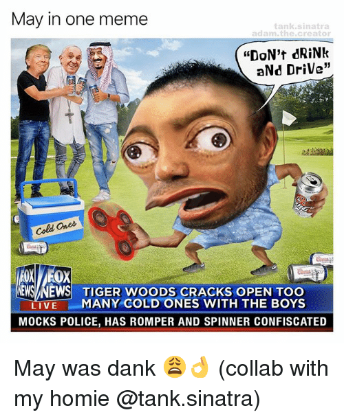 """Dank, Homie, and Meme: May in one meme  adam, the creator  """"DON't dRiNk  aNd Drive""""  Cold Ones  EMSA NEWS TIGER WOODS CRACKS OPEN TOO  LIVE  MANY COLD ONES WITH THE BOYS  MOCKS POLICE, HAS ROMPER AND SPINNER CONFISCATED May was dank 😩👌 (collab with my homie @tank.sinatra)"""