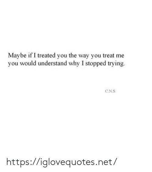 me you: Maybe if I treated you the way you treat me  you would understand why I stopped trying.  C.N.S https://iglovequotes.net/