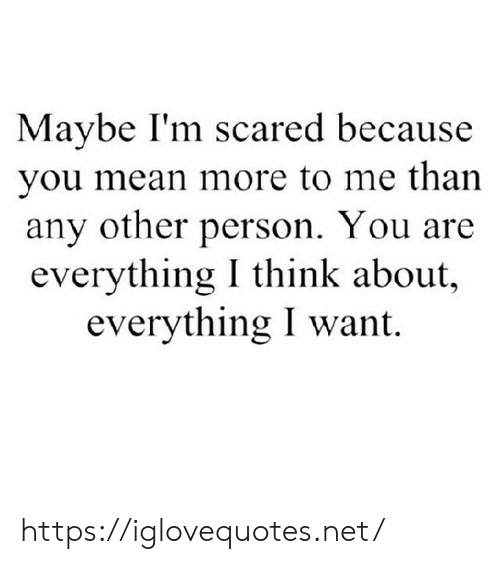 Mean, Net, and Think: Maybe I'm scared because  you mean more to me than  any other person. You are  everything I think about,  everything I want https://iglovequotes.net/