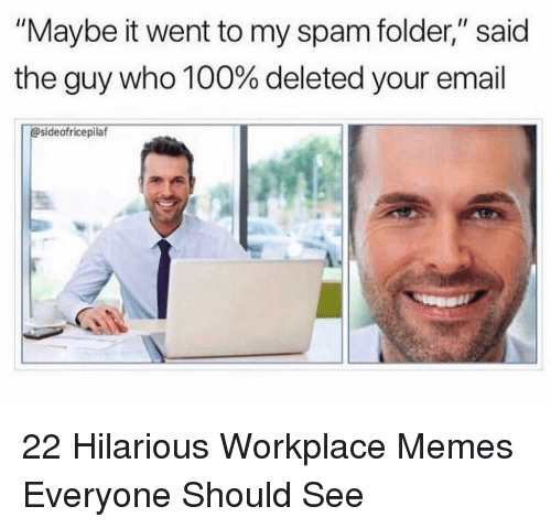 """Anaconda, Memes, and Email: """"Maybe it went to my spam folder,"""" said  the guy who 100% deleted your email  @sideofricepilaf 22 Hilarious Workplace Memes Everyone Should See"""