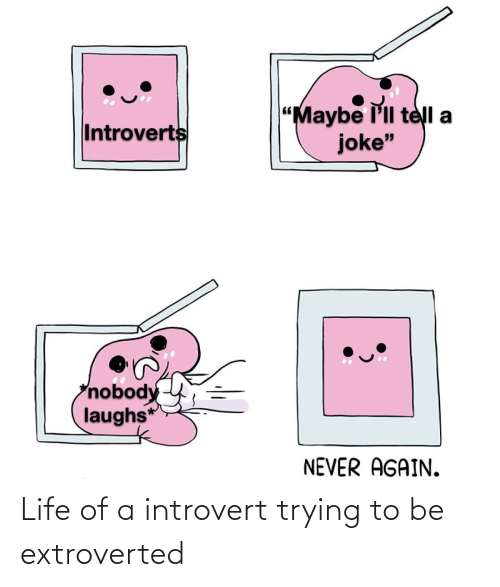 """Life Of: """"Maybe l'll telI a  joke""""  Introverts  nobody  laughs*  NEVER AGAIN. Life of a introvert trying to be extroverted"""