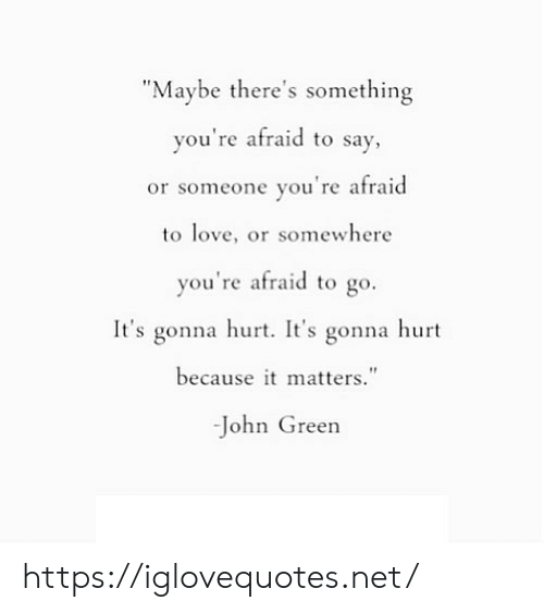 """Love, John Green, and Net: """"Maybe there's something  you're afraid to say,  or someone you're afraid  to love, or somewhere  you're afraid to go.  It's gonna hurt. It's gonna hurt  because it matters.""""  -John Green https://iglovequotes.net/"""