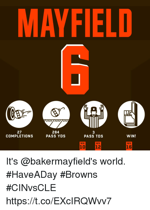 Memes, Browns, and World: MAYFIELD  27  COMPLETIONS  284  PASS YDS  3  PASS TDS  WIN!  WK  WK  WK  16 It's @bakermayfield's world. #HaveADay  #Browns #CINvsCLE https://t.co/EXcIRQWvv7