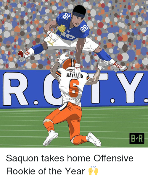 Home,  Year, and  Rookie of the Year: MAYUD  B-R Saquon takes home Offensive Rookie of the Year 🙌