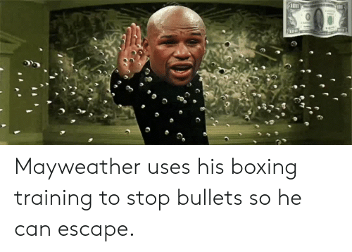 Boxing, Mayweather, and Can: Mayweather uses his boxing training to stop bullets so he can escape.
