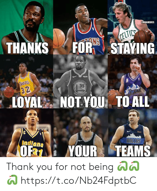 Memes, Thank You, and Indiana: @MBAMEMES  THANKSFORTSTAYING  35  ARR  LOYAL NOT YOU TO ALL  Indiana  0% : YOUR TEAMS Thank you for not being 🐍🐍🐍 https://t.co/Nb24FdptbC