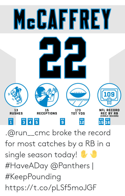 broke: MCCAFFREY  22  109  13  RUSHES  173  TOT YDS  15  RECEPTIONS  NFL RECORD  REC BY RB  (SINGLE SEASON)  WK  WK  WK  WK  WK  WK  WK  WK  15 16  12  3 45  OK .@run__cmc broke the record for most catches by a RB in a single season today! ✋🤚 #HaveADay  @Panthers | #KeepPounding https://t.co/pLSf5moJGF