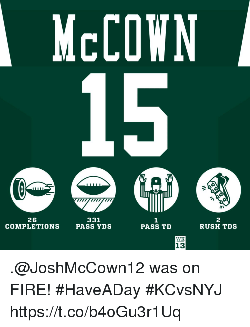 Fire, Memes, and Rush: McCOWN  26  COMPLETIONS  331  PASS YDS  1  PASS TD  2  RUSH TDS  WK  13 .@JoshMcCown12 was on FIRE! #HaveADay #KCvsNYJ https://t.co/b4oGu3r1Uq