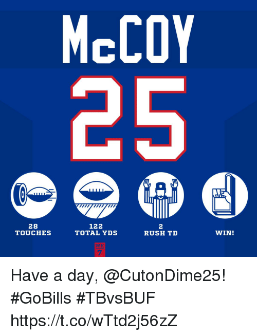 Memes, Rush, and 🤖: McCOY  28  TOUCHES  122  TOTAL YDS  2  RUSH TD  WIN!  WK  7 Have a day, @CutonDime25! #GoBills #TBvsBUF https://t.co/wTtd2j56zZ