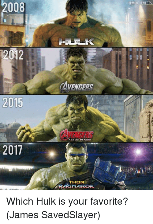 Memes, Hulk, and Avengers: @MCU TWEETS  2008  2012  AVENGERS  2015  AVENGERS  AGE DF ULTRON  2017  THOR  RAGNAROK Which Hulk is your favorite?  (James SavedSlayer)