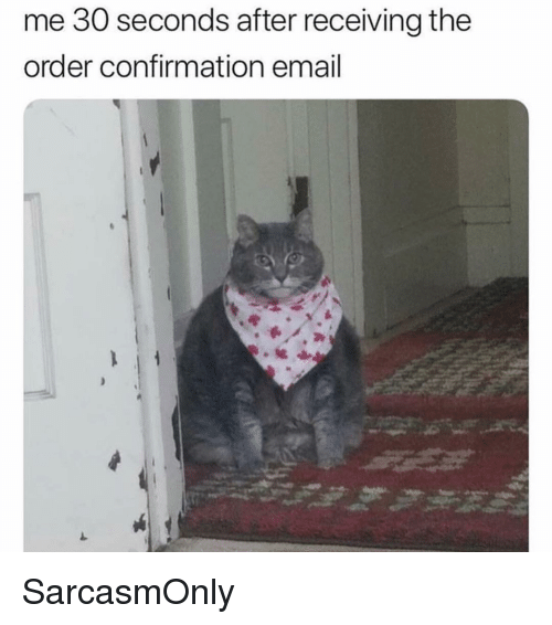 Funny, Memes, and Email: me 30 seconds after receiving the  order confirmation email SarcasmOnly