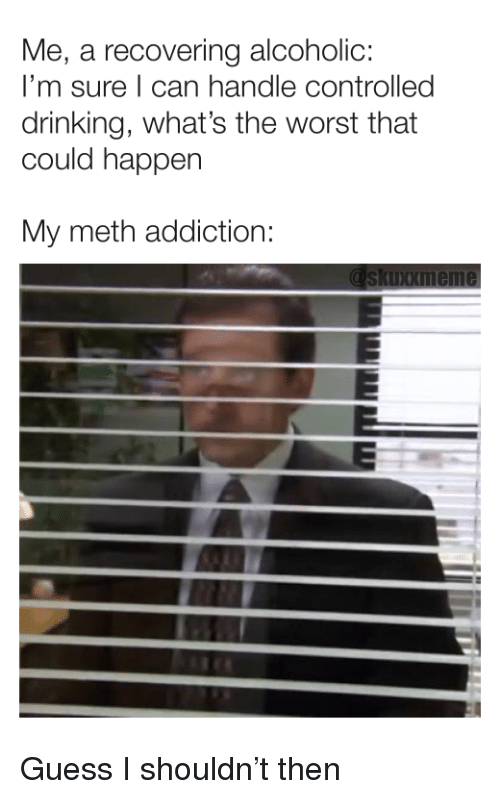 Drinking, The Worst, and Guess: Me, a recovering alcoholic:  I'm sure I can handle controlled  drinking, what's the worst that  could happen  My meth addiction: Guess I shouldn't then