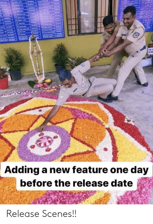 Date, One, and One Day: ME  Adding a new feature one day  before the release date Release Scenes!!