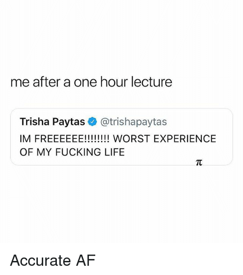 Af, Life, and Memes: me after a one hour lecture  Trisha Paytas@trishapaytas  OF MY FUCKING LIFE Accurate AF