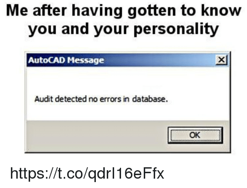 Memes, AutoCAD, and 🤖: Me after having gotten to know  you and your personality  AutoCAD Message  凶  Audit detected no errors in database.  OK https://t.co/qdrI16eFfx