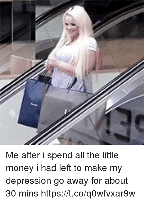 Funny, Money, and Depression: Me after i spend all the little money i had left to make my depression go away for about 30 mins https://t.co/q0wfvxar9w