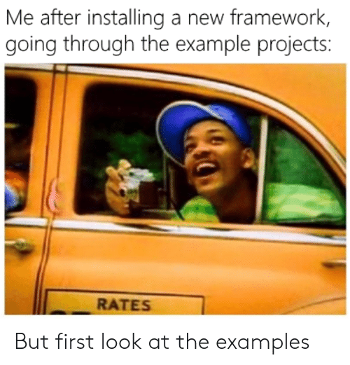 Examples, First, and Projects: Me after installing a new framework,  going through the example projects:  RATES But first look at the examples