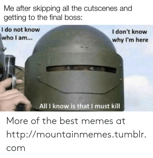 Final boss: Me after skipping all the cutscenes and  getting to the final boss:  I do not know  who I am...  I don't know  why I'm here  All I know is that I must kill More of the best memes at http://mountainmemes.tumblr.com