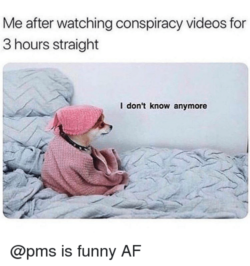 Af, Funny, and Videos: Me after watching conspiracy videos for  3 hours straight  l don't know anymore @pms is funny AF