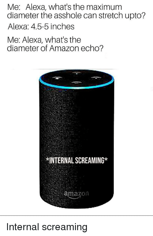 Amazon, Asshole, and Echo: Me: Alexa, what's the maximum  diameter the asshole can stretch upto?  Alexa: 4.5-5 inches  Me: Alexa, what's the  diameter of Amazon echo?  INTERNAL SCREAMING*  amazon Internal screaming