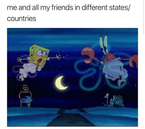 Friends, All, and Chan: me and all my friends in different states/  countries  Chan