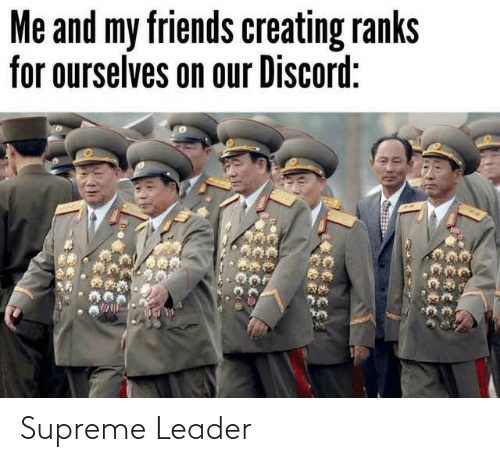 discord: Me and my friends creating ranks  for ourselves on our Discord: Supreme Leader
