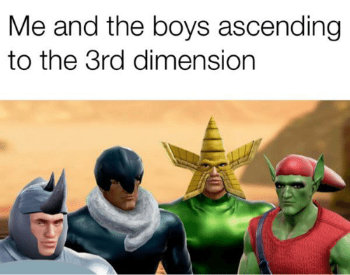 Memes, Boys, and 🤖: Me and the boys ascending  to the 3rd dimension