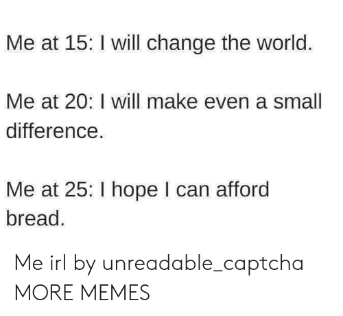 Afforded: Me at 15: I will change the world.  Me at 20: I will make even a smal  difference  Me at 25: I hope I can afford  bread Me irl by unreadable_captcha MORE MEMES
