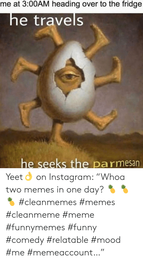 "Funny, Instagram, and Meme: me at 3:00AM heading over to the fridge  he travels  he seeks the pa rmesan Yeet👌 on Instagram: ""Whoa two memes in one day? 🍍 🍍 🍍 #cleanmemes #memes #cleanmeme #meme #funnymemes #funny #comedy #relatable #mood #me #memeaccount…"""