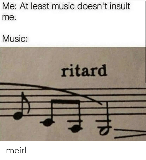 Music, MeIRL, and Insult: Me: At least music doesn't insult  me.  Music:  ritard meirl